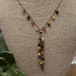 Monet Natural Stone Goldtone Necklace